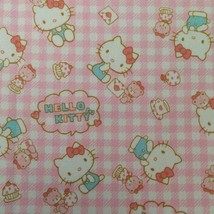 Vintage Sanrio Hello Kitty Fabric 0.5 Yards Cotton Pink Gingham Hearts L... - $38.00