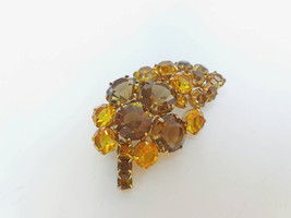 Vintage Jewelry Brooch in Form Leaf With Yellow and Brown Crystals Vinta... - $23.94