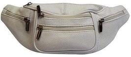 Genuine Cowhide Leather Waist Fanny Pack Pouch 6 Compartments White - $14.99