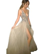 Classy Long Prom Dresses Deep V Neck Beaded Tulle Sex High Split Evening... - $155.99