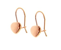 "18K ROSE GOLD PENDANT HOOK ROUNDED 8mm HEARTS EARRINGS LENGTH 20mm 0.8"" image 1"