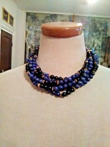 VINTAGE 6 ROW TORSADE CHOKER NECKLACE MOTTLED BLUE & BLACK BEADS GOLDEN ... - $40.00
