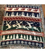 "Crown Crafts Christmas Reversible Throw Blanket Reindeer Snowmen USA 50""... - $57.87"