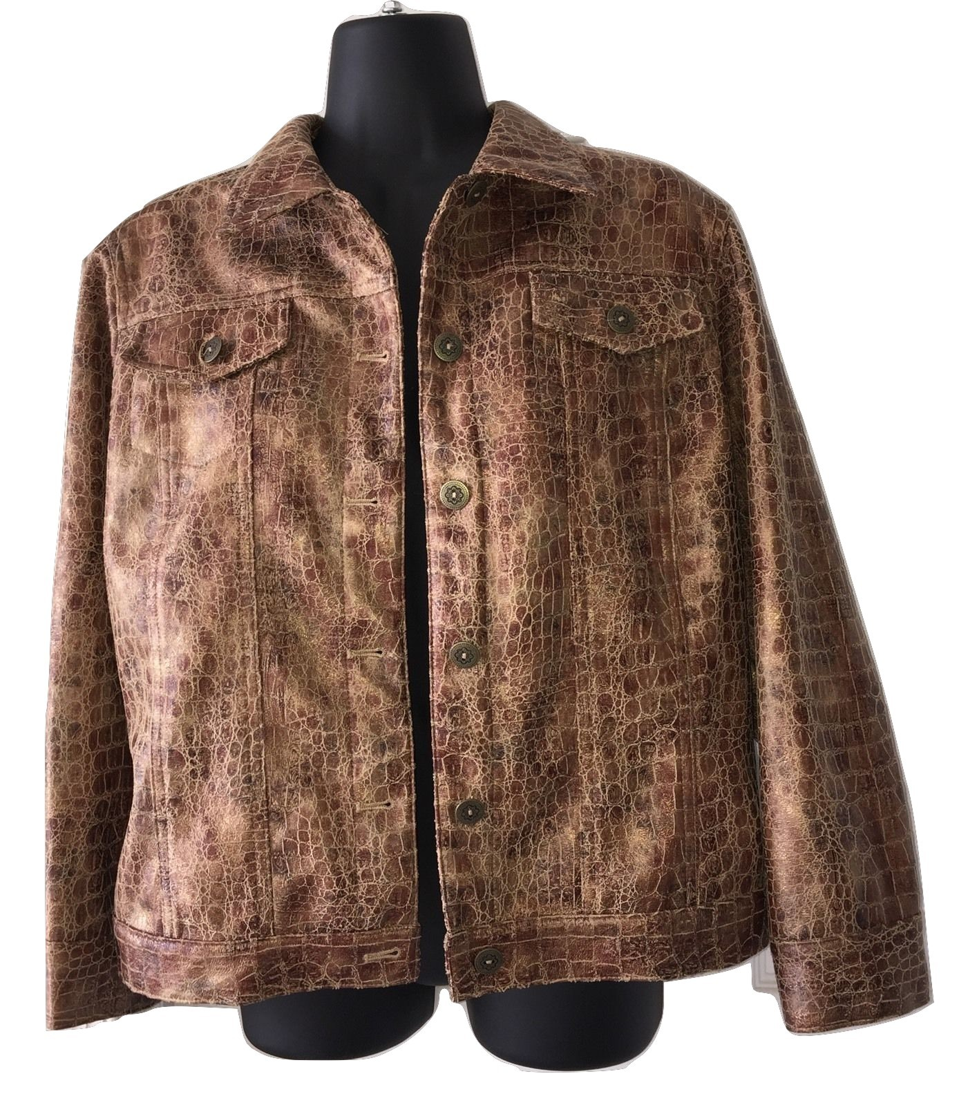 Womens Ruby Rd Saddle Faux Snakeskin Animal Print Blazer Jacket Blouse Top Sz 12