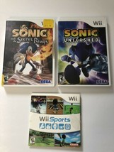 Lot Of 3 Nintendo Wii Games Wii Sports Sonic Unleashed & Secret Rings TE... - $18.63