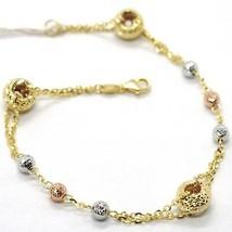 Armband Gelbgold Weiß Pink 18K 750, Kreise und Kugel Abwechselnde und Ma... - $377.53