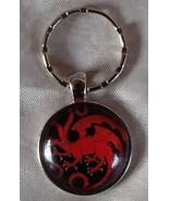 GOT Cabochon Keychain House Targaryen Sigil Fire & Blood Three Headed Dr... - £5.96 GBP
