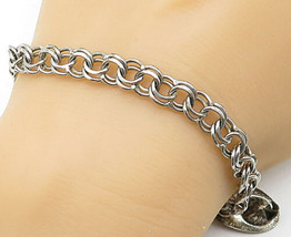 925 Silver - Vintage Firefighter Hat Charm Double Link Chain Bracelet - ... - $43.76