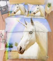 3D Rainbow Horse Bed Pillowcases Quilt Duvet Cover Set Single Queen King Size AU - $90.04+