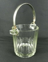 "Vintage Ice Bucket Clear Glass Metal Handle Fluted 5"" H - $15.83"