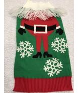 Dog Sweater Size M Canine Apparel Green Knit Santa Body White Yarn Fring... - $8.78