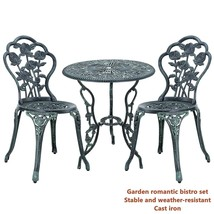 Romantic Garden Bistro Set Stable Weather-Resistant Metal Patio 3pcs Set... - $232.04