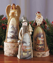 New Unique SANTA ANGEL SNOW MAN SCENIC FIGURINE Frosty Vintage Retro Cou... - $22.99