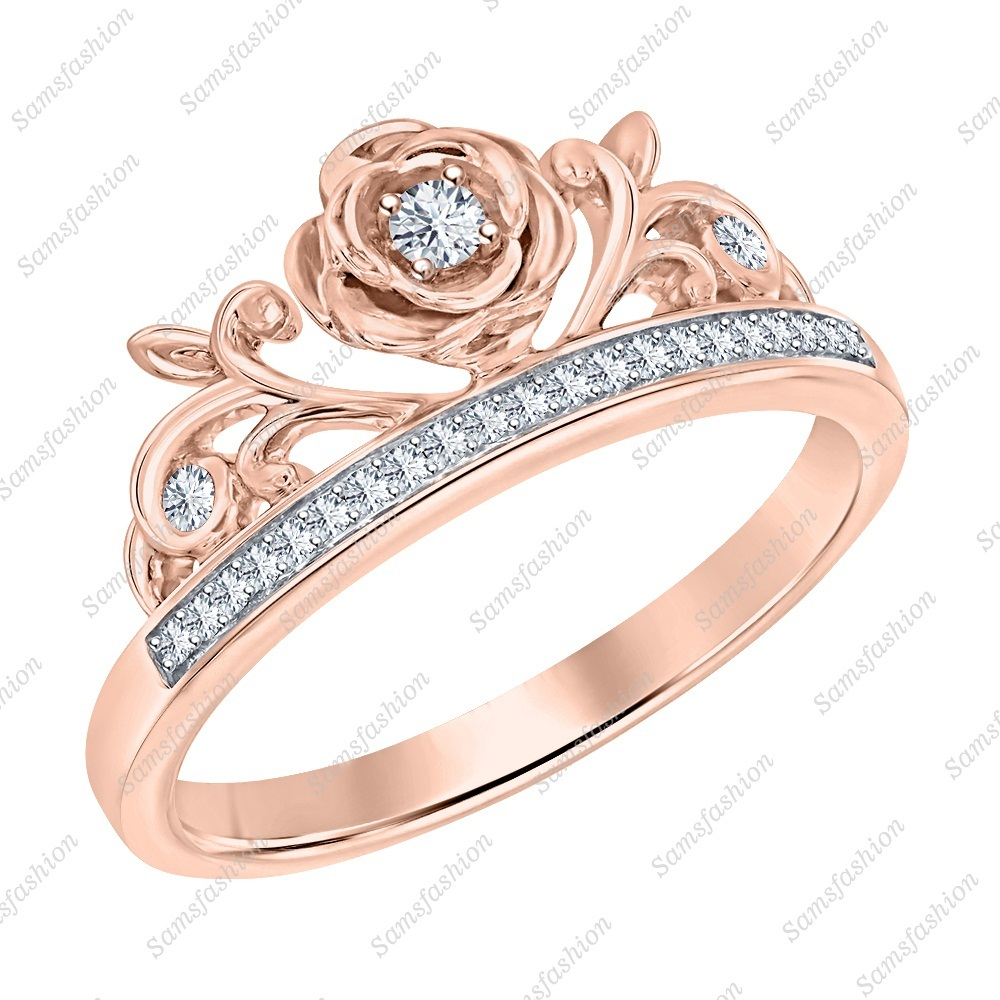 Primary image for Round White Diamond 14k Rose Gold Over .925 Silver Rose Flower Engagement Ring