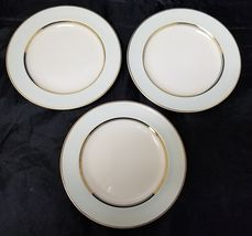 "French Saxon China Co Side Plates Set of 3 7.25"" White & Lgt Blue Pottery Salad image 6"