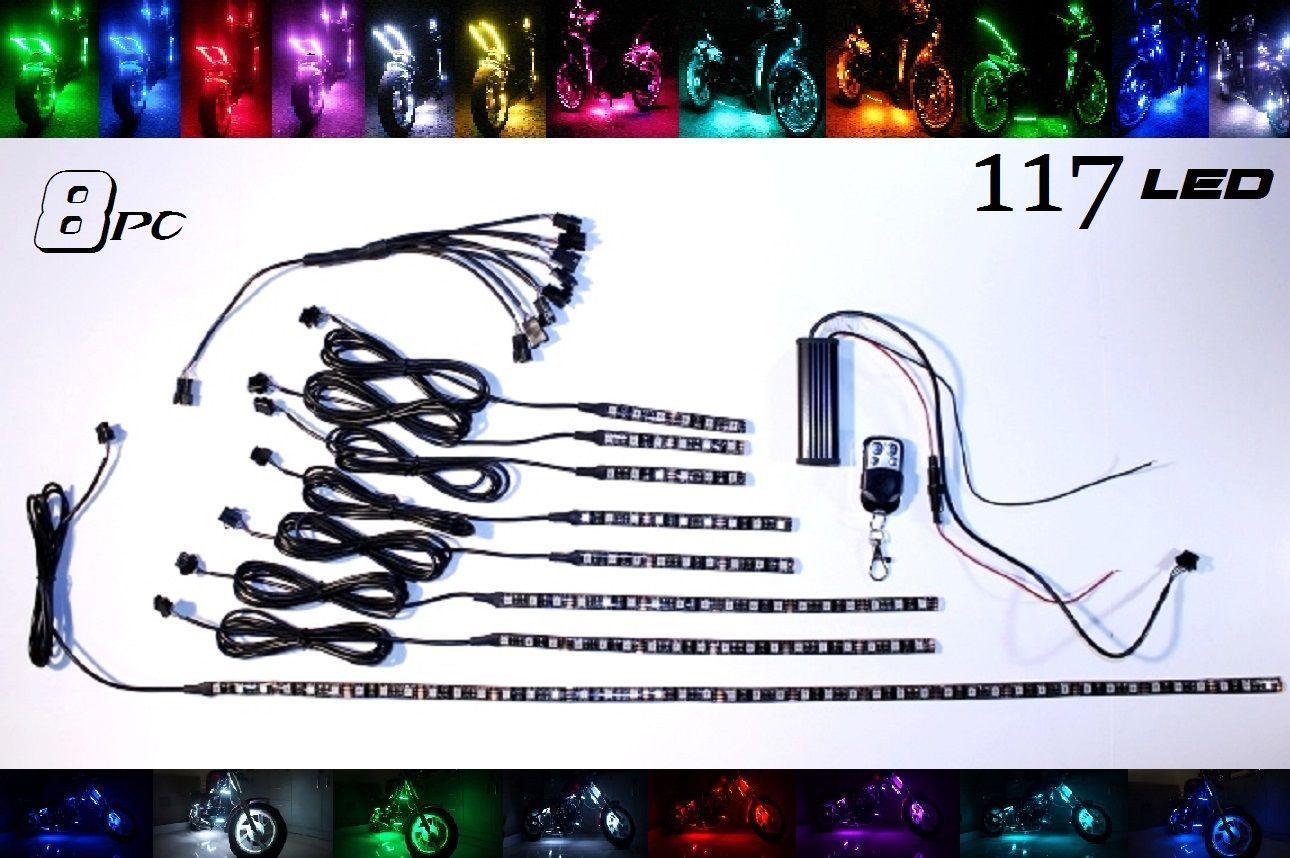 8 pc Wireless Multi-Color LED Flexible Motorcycle Lighting Kit 117 LED 351 SMD - $98.95