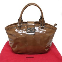 Valentino Garavani Brown Patent Leather Shopper Tote Bag Front V Logo MS... - $732.85