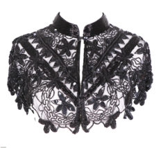Sequin Beaded FULL Collar Shoulder Shrug Shawl Wrap Applique Black - $64.99