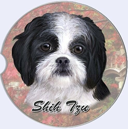 Primary image for Shih Tzu Car Coaster Absorbent Keep Cup Holder Dry Stoneware New Dog Black White