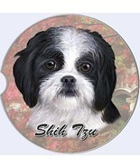 Shih Tzu Car Coaster Absorbent Keep Cup Holder Dry Stoneware New Dog Black White - $10.88