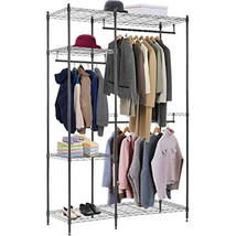 Hanging Closet Organizer and Storage Heavy Duty Clothes Rack Sturdy 3 Rod Garmen