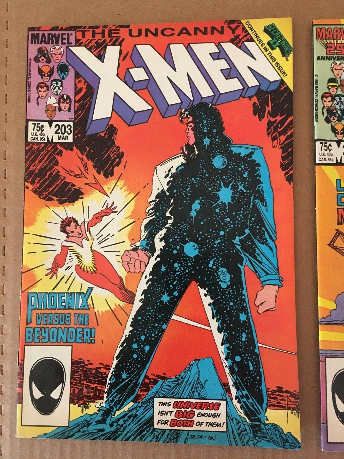 Uncanny X-Men #203 & 204 Marvel Comic Book Lot from 1986 VF+ Condition
