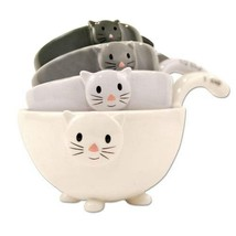 SET OF 4 CAT MEASURING CUPS Nesting Ceramic Bowls Cute Stackable Dishwas... - $32.88