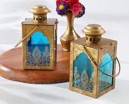 5 Boho Moroccan India Jewel Gold Blue Candle Lantern Wedding Table Decor... - $57.25