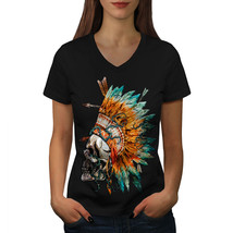 Native Feather Skull Shirt War Tattoo Women V-Neck T-shirt - $12.99+