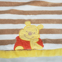 Disney Winnie the Pooh Baby Blanket Brown Tan White Yellow Stripe Fleece... - $69.29