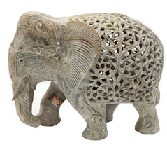 Handmade Sand Stone Undercut Trunk Down Carving Elephant - $165.24