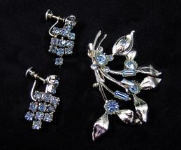Blue Rhinestone Vintage 1960s Flower Spray Pin Brooch & Screw Back Drop ... - $29.99
