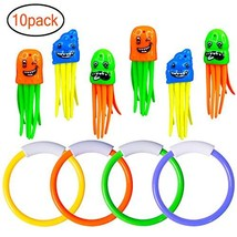 Under Water Diving Toys Pool Rings(4 pcs) and Octopus(6 pcs) Swimming To... - $12.12