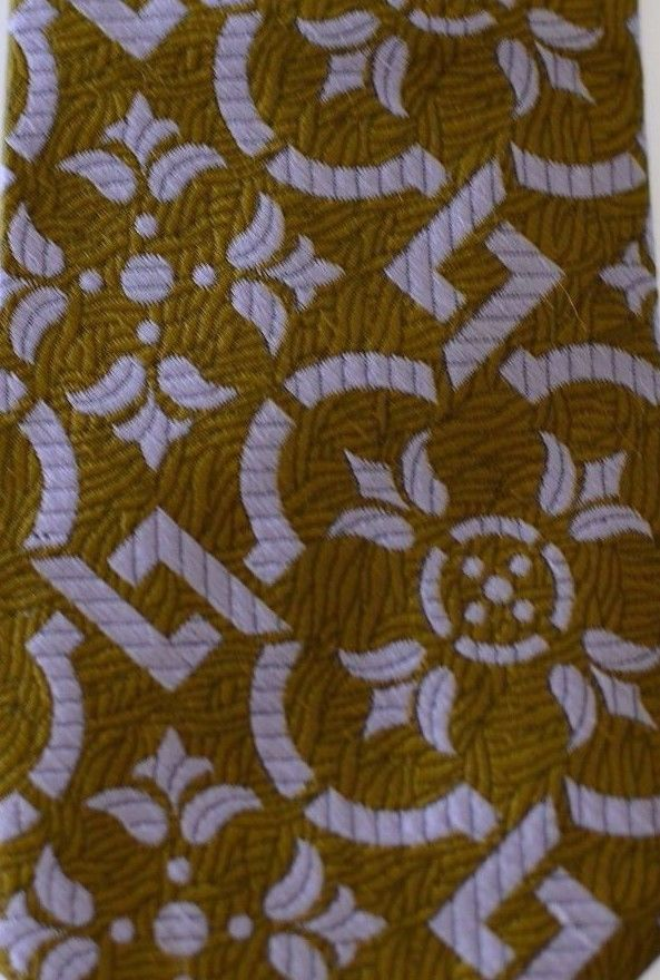 Vintage Rare Carter Holmes Mens Brown & Light Purple Ornate Polyester Neck Tie