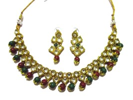 Indian Traditional Bollywood Kundan Multi-Color Pearls Fashion  Jewelry Set - $13.85