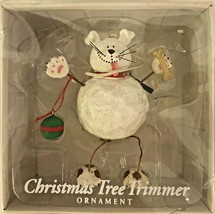Christmas Ornament White Puppy Dog With Hanging Feet 4.5 Inches Tall - $12.86