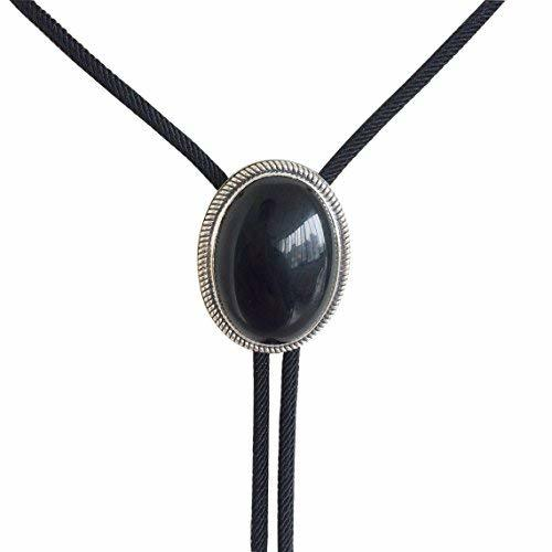Primary image for New Original Vintage Sterling Silver 925 Nature Black Obsidian Stone Bolo Tie
