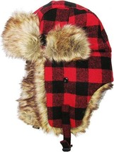 Red Black Plaid Trapper Hat Faux Fur Warm Winter Aviator Bomber Trooper ... - $19.99