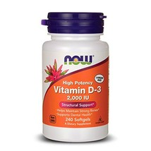 NOW Vitamin D-3, Structural Support 2000 I.U, 240 Softgels - $11.57
