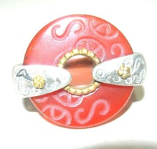 LARGE VINTAGE CARVED CARNELIAN CHINESE ORIENTAL STERLING SILVER ESTATE RING - $120.00