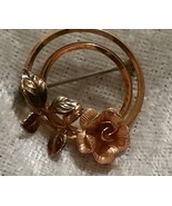 Vintage signed Krementz Rose and yellow gold flower brooch pin   - $24.00