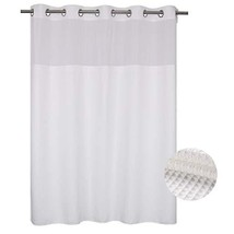 Waffle Weave Fabric Shower Curtain No Hooks Needed, Cotton Blend, With Span-in R