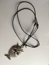 Silver Owl Necklace, Hand Made, Owl Pendant, Black Leather Adjustable Cord  - $15.00