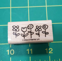 Spring Flowers Small Smorgasborders Rubber Stamp Wood Mounted Stampin Up 2004 - $4.46