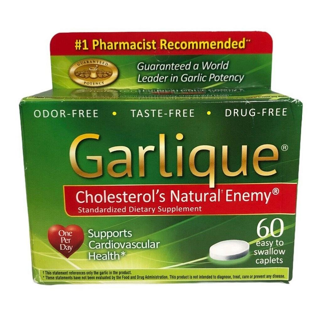 Garlique Cholesterol's Natural Enemy Cardiovascular Health 60 Caplets Supplement - $42.08