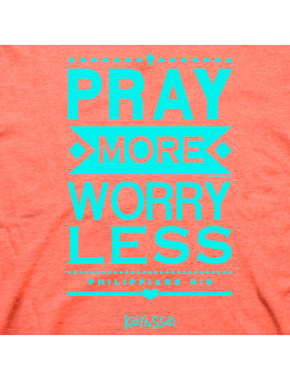 "Christian T-Shirt ""PRAY MORE WORRY LESS "" by Kerusso Womens NEW"