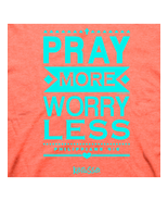 "Christian T-Shirt ""PRAY MORE WORRY LESS "" by Kerusso Womens NEW - $17.99+"
