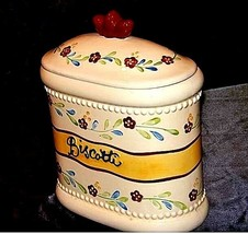 Biscotti Cookie Jar with Lid AA18-1256  Hand Made for Nonni's Vintage image 2