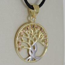 18K YELLOW WHITE ROSE GOLD TREE OF LIFE PENDANT 17 MM .67 INCHES, MADE I... - $152.95