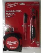 Milwaukee 48-22-5525M 3 Piece 25ft Tape Measure-Knife-Marker Combo - $15.84
